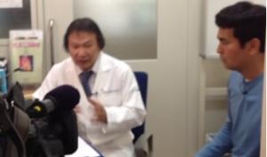 テレビ朝日「モーニングバード」での取材中の細川丈志先生と番組コーディネーターの石原良純さん。